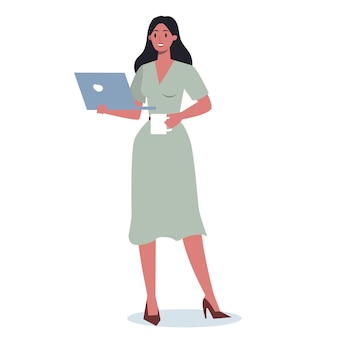 Bedrijfsvrouw met gadget. vrouwelijke personage in pak met laptop. internet en netwerk in apparaat.