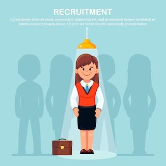 Bedrijfsvrouw met gloeilamp. creatief idee, innovatietechnologie, geniaal oplossingsconcept