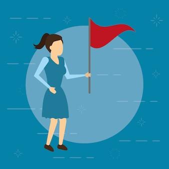 Bedrijfsvrouw met rode vlag, vlakke stijl
