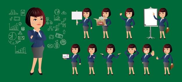 Bedrijfsvrouw met verschillende geplaatste gebaren