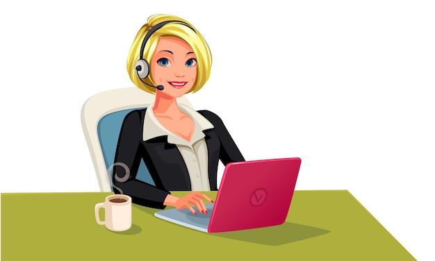 Bedrijfsvrouw op oproep gelukkig lachend gezicht illustratie