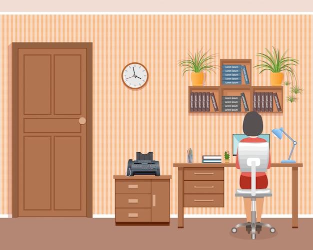 Bedrijfsvrouw op werkende plaats thuis. freelance arbeiderskarakter die in binnenlands binnenland werken.