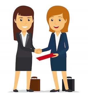 Bedrijfsvrouwen die handen schudden