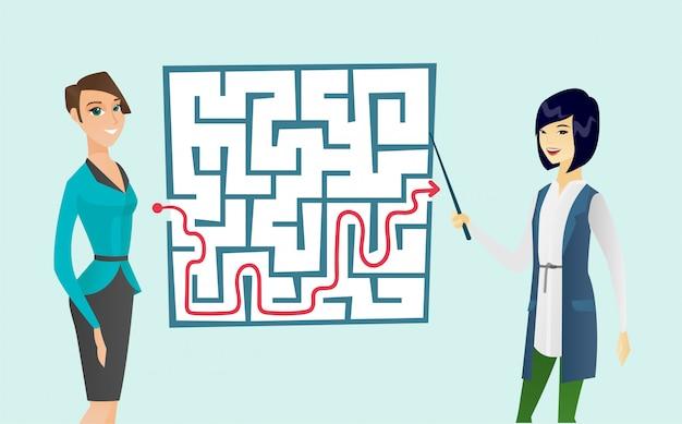 Bedrijfsvrouwen die labyrint met oplossing bekijken.