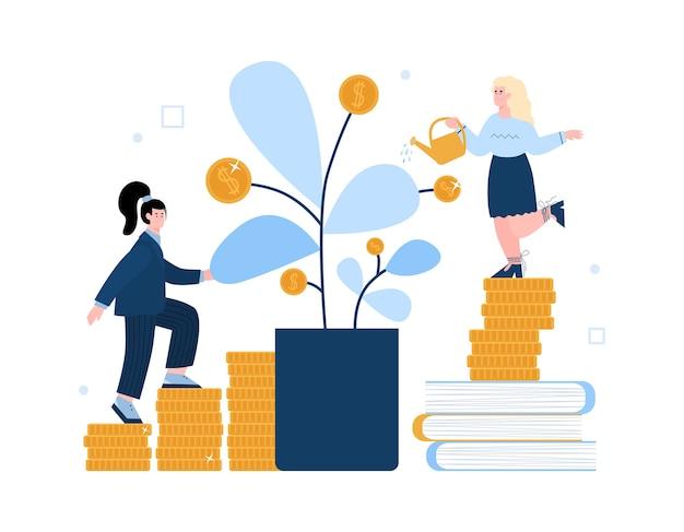 Bedrijfsvrouwen gieter met geldboom