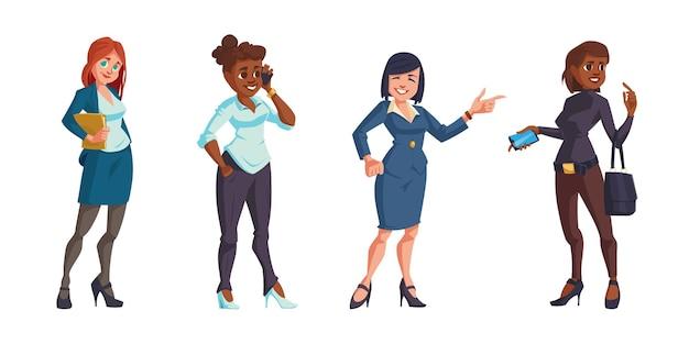 Bedrijfsvrouwen in geïsoleerde bureaukleren