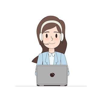 Bedrijfsvrouwenkarakter in call centre.
