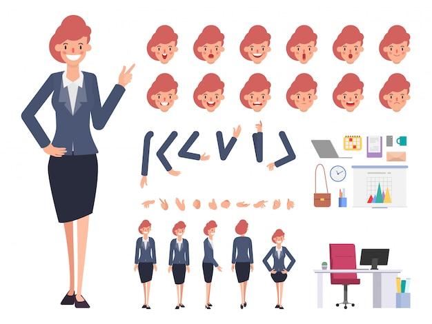Bedrijfsvrouwenkarakter klaar voor animatiemond.