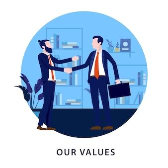 Bedrijfswaardenconcept met twee zakenlieden die handen in bureau schudden