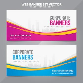Bedrijfswebbanner vastgestelde vector achtergrondmalplaatjes