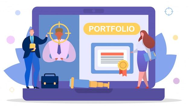 Bedrijfswerknemersonderzoek naar baanconcept, illustratie. persoon man karakter portfolio en hervatten voor werk.