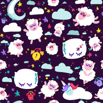 Bedtijd, goede nachtrust vector naadloze patroon. schattige dromen dieren. behang plat ontwerp