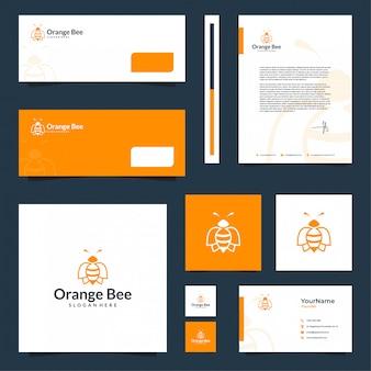 Bee brand inspiratie voor briefpapierontwerp