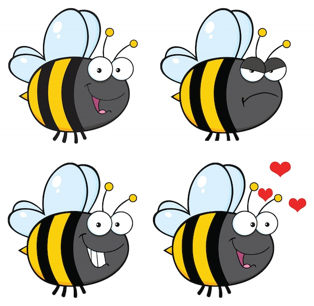 Bee cartoon mascotte tekenset