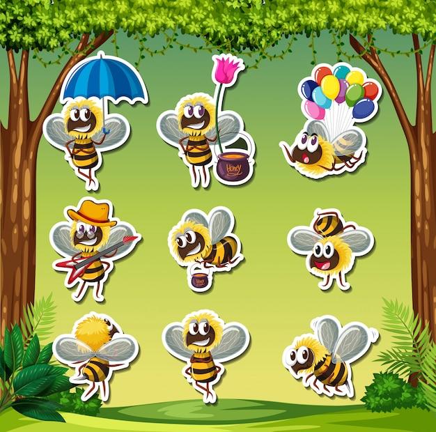 Bee characater sticker aard achtergrond