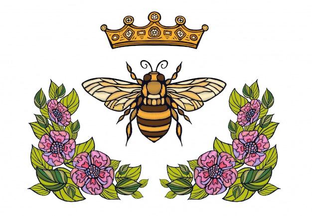 Bee crown bloemen borduurwerk. honingbij hommel bloemen blad insect borduurwerk. hand getekend