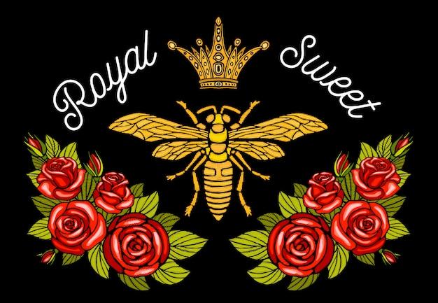Bee crown bloemen borduurwerk patch. honingbij hommel bloemen blad insect borduurwerk. hand getekend
