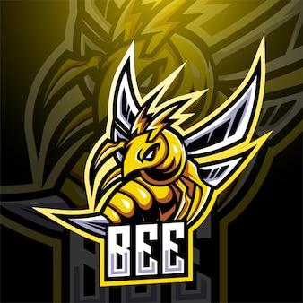 Bee esport mascotte logo ontwerp