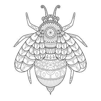 Bee getekend in doodle stijl