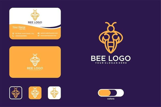 Bee line art logo ontwerp en visitekaartje