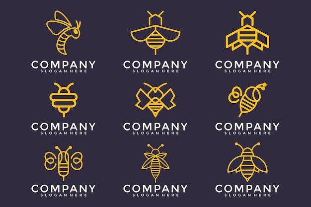 Bee logo-ontwerp met set kaderstijl