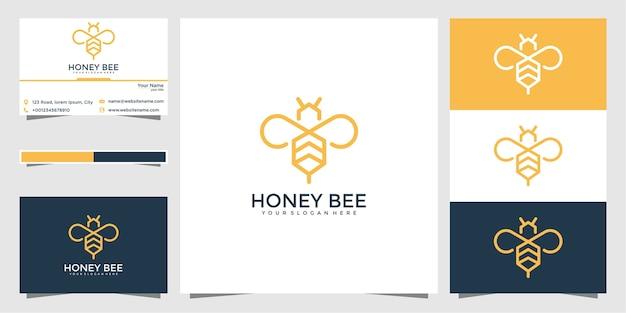 Bee logo-ontwerp met stijlvolle lijnen en visitekaartjes