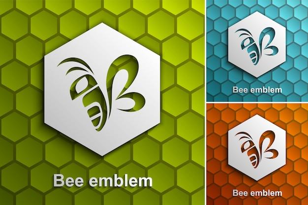 Bee logo ontwerpsjabloon, kleuropties, gestileerd bedrijfslogo idee
