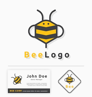Bee logo template ontwerp