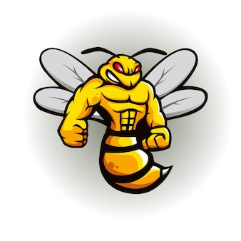 Bee mascotte logo ontwerp
