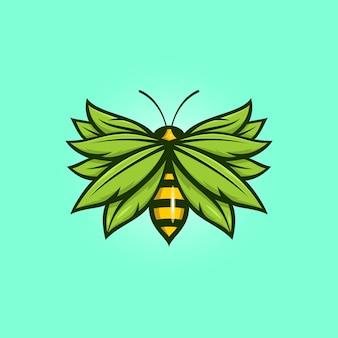 Bee met blad logo sjabloon