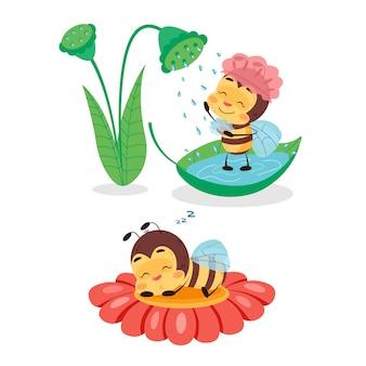 Bee neemt douche en slaapt op bloem. karakter ontwerp illustratie voor kinderen op witte geïsoleerde achtergrond. het schattige en grappige bijenleven