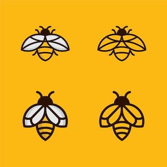 Bee outline monoline logo-ontwerp instellen