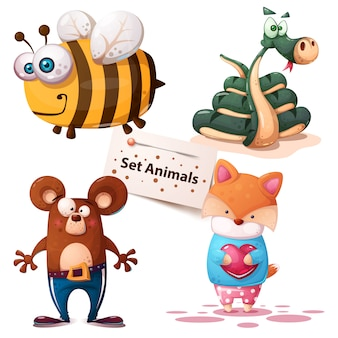 Bee, snake, bear fox set animals