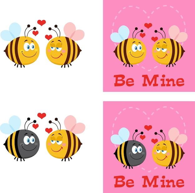 Bee stripfiguren. flat collection set geïsoleerd