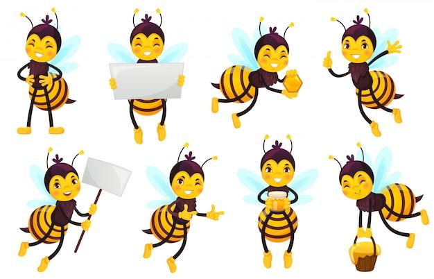 Bee stripfiguur. bijenhoning, vliegende schattige honingbij en grappige gele bijenmascotte illustratie set