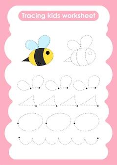 Bee trace-lijnen schrijven en tekenen oefenwerkblad voor kinderen