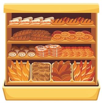 Beeld van verschillende brood en bakkerijproducten op planken