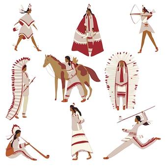 Beelden van amerikaanse indianen in huis. illustratie.