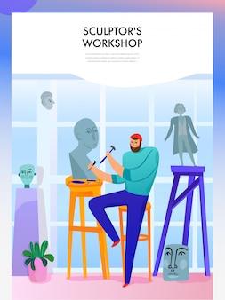 Beeldhouwkunstmeester met professionele gereedschappen tijdens het maken van beelden in de werkplaats vlak