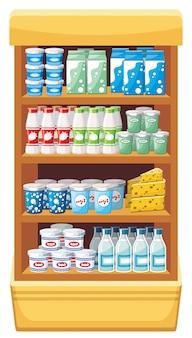 Beeldplanken met zuivelproducten in de supermarkt