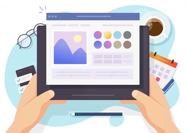 Beeldsoftware foto-editor online boven designer werkplek tafel bureau en digitale tablet computerscherm of kunstenaar foto maken en tekenen programma bovenaanzicht desktop platte cartoon modern