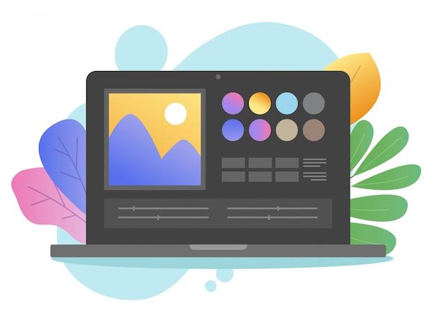 Beeldsoftware foto-editor online op laptop pc of computer kunstenaar studio foto maken en digitaal tekenprogramma cartoon