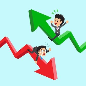 Beeldverhaal bedrijfsmensen op groene en rode pijl