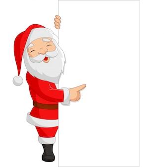 Beeldverhaal de kerstman die een leeg teken toont