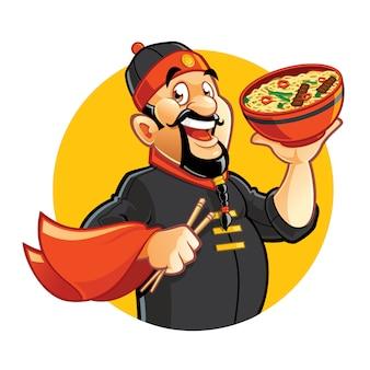Beeldverhaal die aziatisch chef-kokkarakter glimlachen