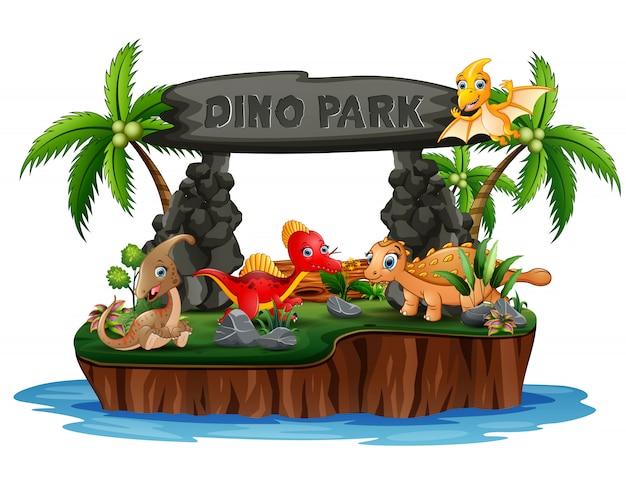 Beeldverhaal dinosaurussen in het parkeiland van dino