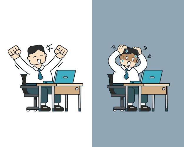 Beeldverhaal een zakenman die verschillende emoties uitdrukt