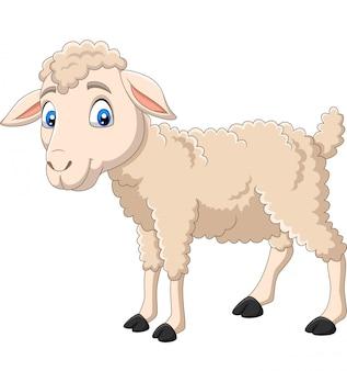 Beeldverhaal gelukkig lam dat op wit wordt geïsoleerd