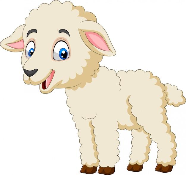 Beeldverhaal gelukkig lam dat op witte achtergrond wordt geïsoleerd