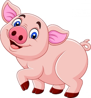 Beeldverhaal gelukkig varken dat op witte achtergrond wordt geïsoleerd